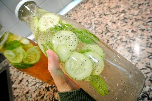 Leichte Limonade aus Gurke, Ingwer und Minze