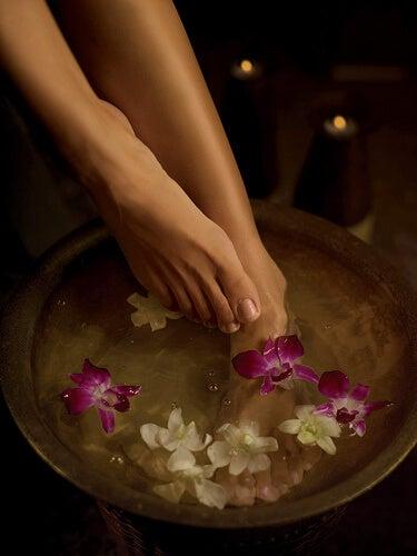 Füße im Fußbad mit Blumen