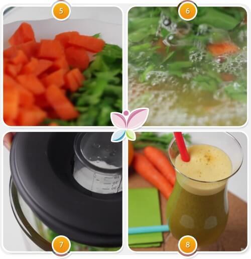 Karotten-Orangen-Saft-Zubereitung