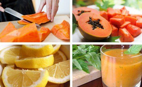 Papaya-Zitronen-Mixgetränk zur Reinigung des Magens