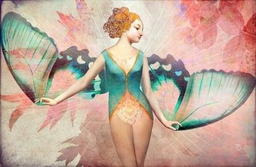 glückliche Schmetterlingfrau