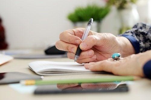 Veränderungen in der Schrift und Parkinson