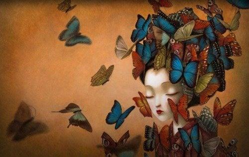Frau mit Schmetterlingen ohne Selbstwertgefühl für Feminizid gefährdeter