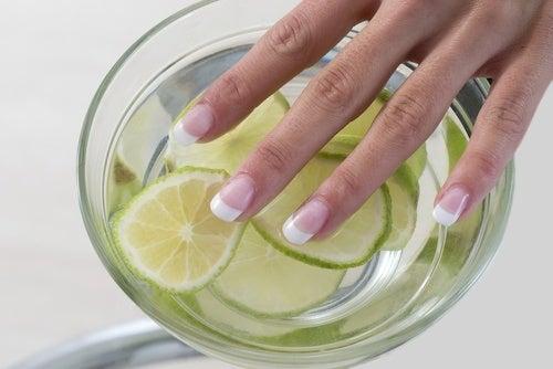 Finger in Wasser mit Zitronen baden