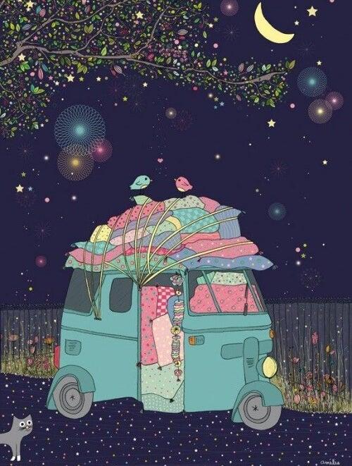 glückliche Paare im Campingwagen