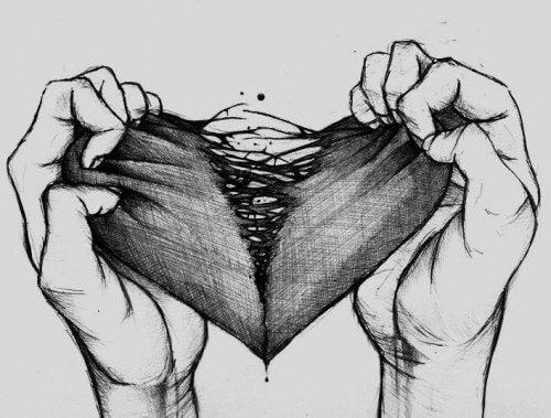 Entzweites Herz das den Abgrund repräsentiert