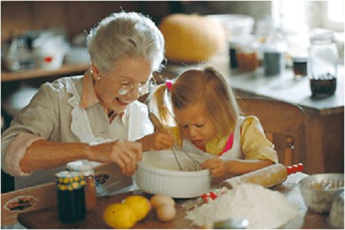 Kinder von Alleinerziehenden; Oma muss mithelfen