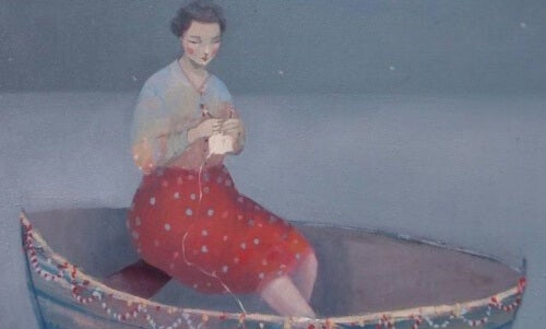 Boot mit Frau, die stark ist