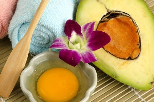 Ei und Avocado für Haarmasken