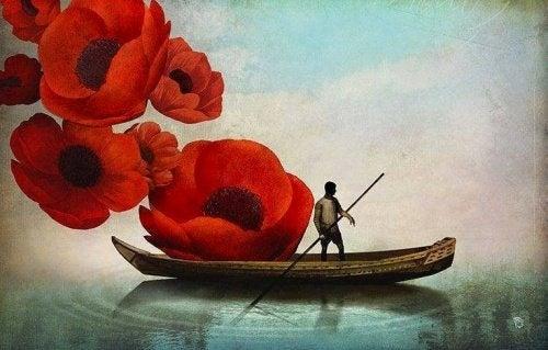 Mann im Boot sucht innere Ruhe