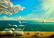 Fliegende Bücher symbolisieren vergehende Zeit