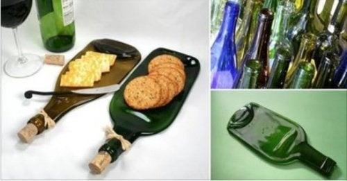 Recycling Stelle Aus Einer Weinflasche Ein Snackbrett Her