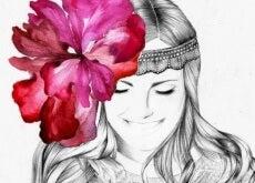 resiliente Frau mit Blume