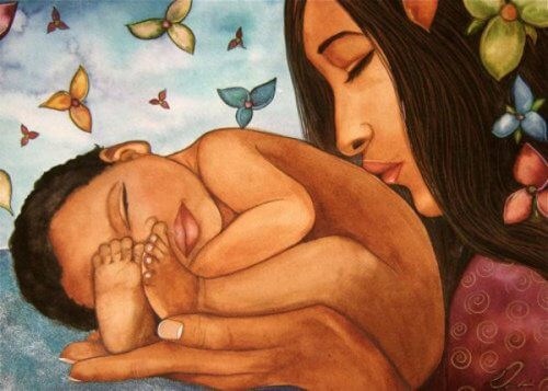 Mutter und Baby formen eine Familie