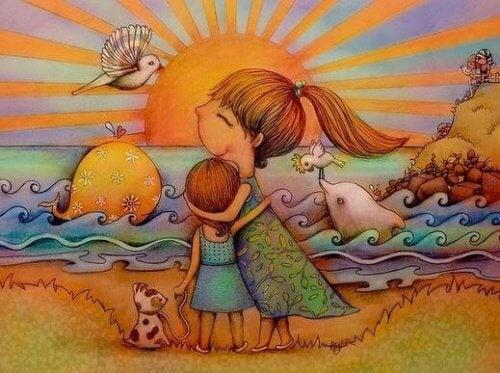 Mutter lehrt Tochter emotionale Intelligenz