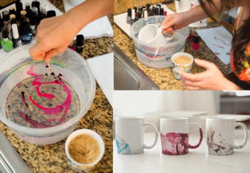 Tassen mit Nagellack dekorieren