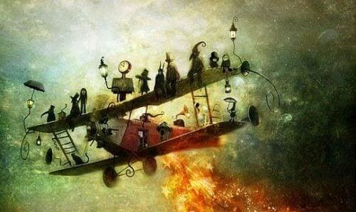 Brennendes Flugzeug