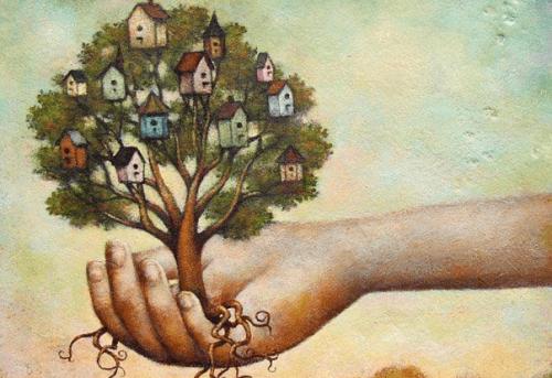 Hand haelt Baum warten