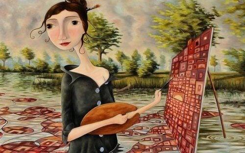 Malende Frau legt Wert auf Würde