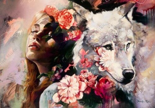 frau-mit-wolf