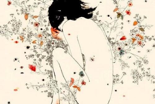 traurige Frau denkt an geliebte Personen