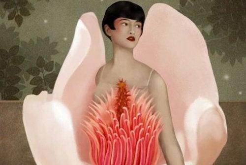 Frau in Blume Du