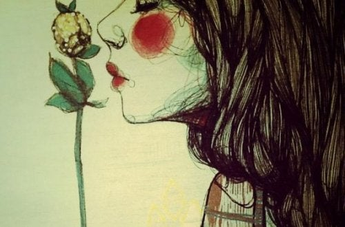 Mädchen riecht Blume du