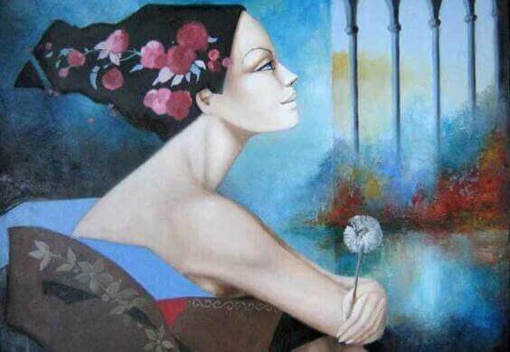Frau mit Pusteblume Enttüschung