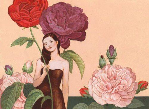 Frau mit großen Blumen hat keine Probleme