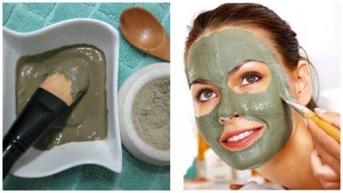 Grüne Maske gegen Mitesser und Unreinheiten