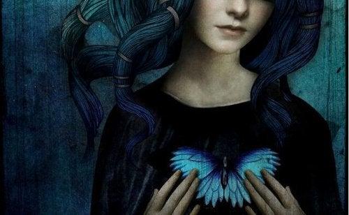 Frau mit beflügeltem Herz denken