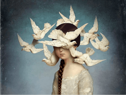 Mädchen mit Tauben am Kopf denken