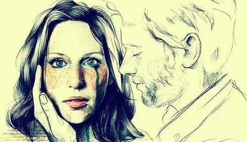 traurige Frau mit ihrem Mann denkt über Beziehung nach