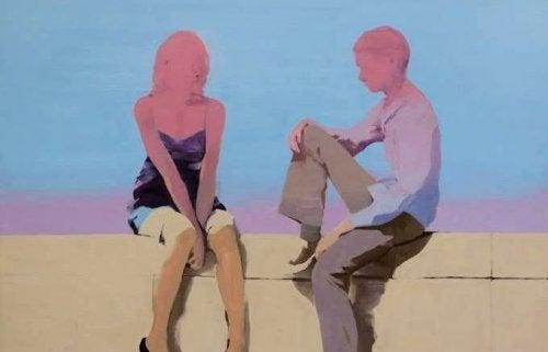 Frau und Mann sprechen über Beziehung