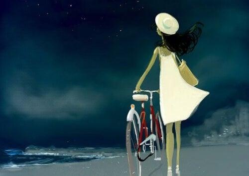 Frau-Fahrrad