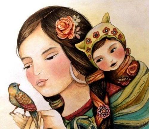 Mutter mit Kind und Vogel