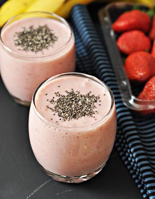 Smoothie aus frischen Erdbeeren