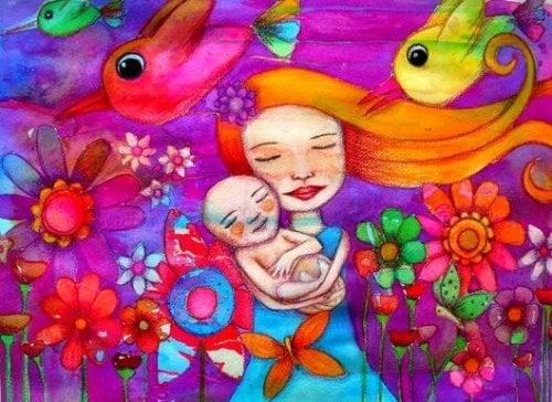 Mutter und Baby zwischen Blumen
