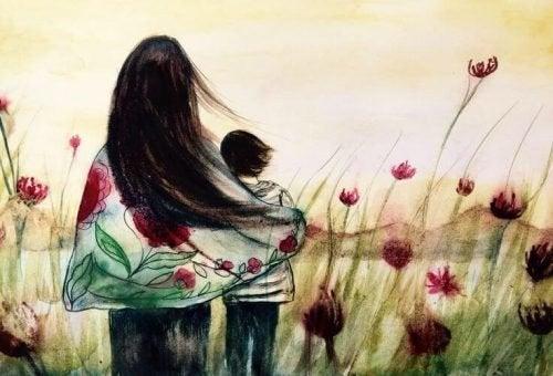 Mutter und Sohn in einer Wiese