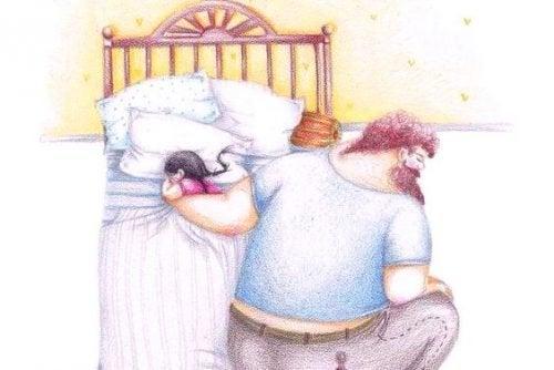 Vater und Tochter beim Schlafen