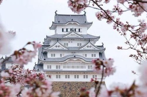 japanisches Gebäude auf dem Weg zum Glück