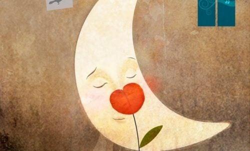 Mond mit Herzblume