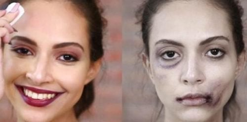 misshandelte Frauen verstecken Haut