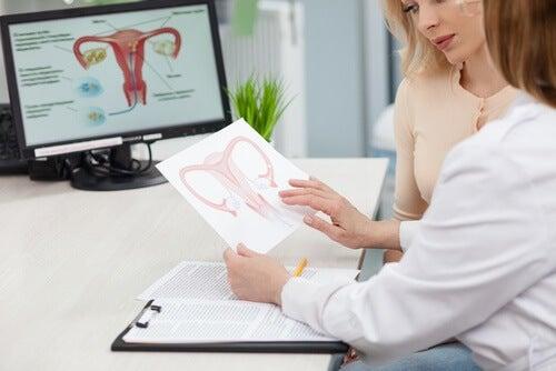 Frauenärztin erklärt einer Frau mehr über polyzystisches Ovarialsyndrom