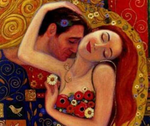 Der Kuss von Mann und Frau, die an viele Dinge denken