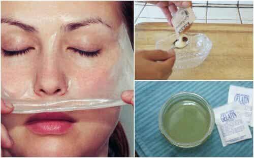 Maske aus Gelatine und Milch gegen schwarze Poren