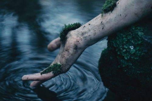 Arm einer Frau mit Moos im Wasser als Symbol für Leid durch toxische Beziehung