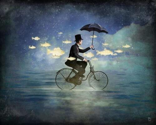 Mann auf Fahrrad im Regen denkt an die Geheimnisse des Glücks