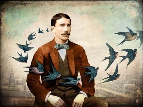 Mann mit Vögeln denkt an Geheimnisse des Glücks