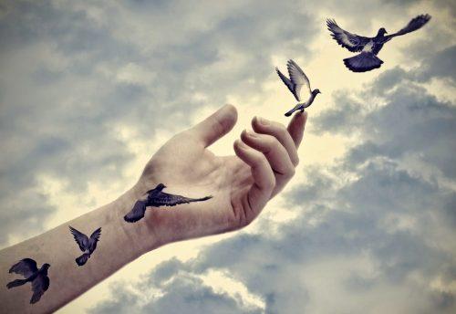 Hand mit Vögeln